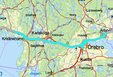 Karlstad grense til Kristinehamn - Örebro - grense til Västmanland